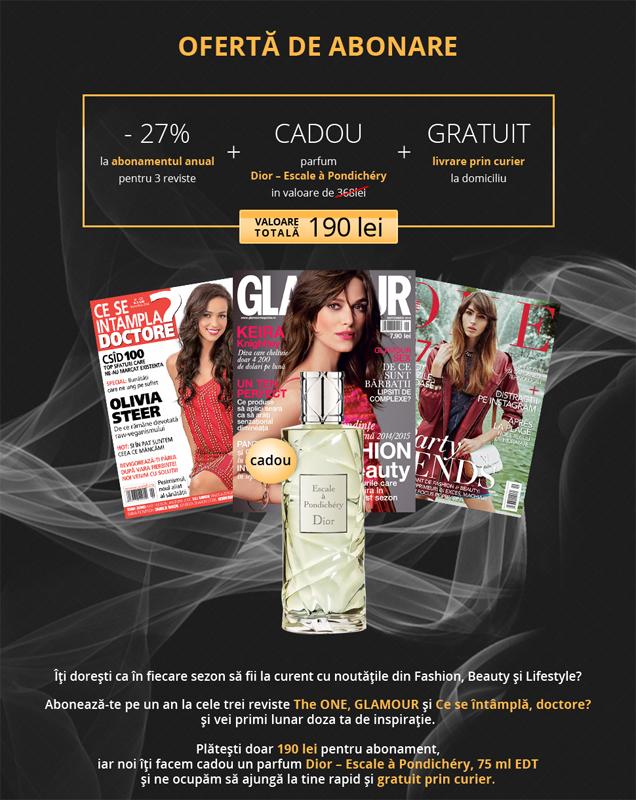 Oferta Mediafax de abonament pe 1 an la 3 reviste pentru femei ~~ Cadou: EDT Dior ~~ Pret: 190 lei