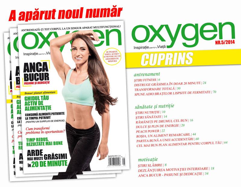 Cuprinsul revistei Oxygen Magazine Romania, editia nr 5 Septembrie-Octombrie 2014