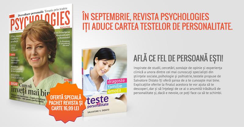 Promo pentru editia de Septembrie 2014 a revistei Psychologies Magazine Romania
