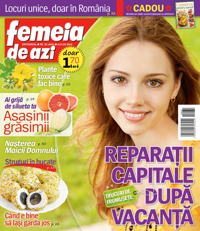 Femeia de azi ~~ Carticica: Conserve pentru iarna ~~ Nr. 35 din 4 Septembrie 2014 ~~ Pret: 1,70 lei