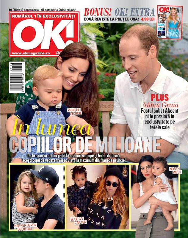 OK! Magazine Romania ~~ Coverstory: In luma copiilor de milioane ~~ 18 Septembrie 2014 ~~ Pret: 5 lei