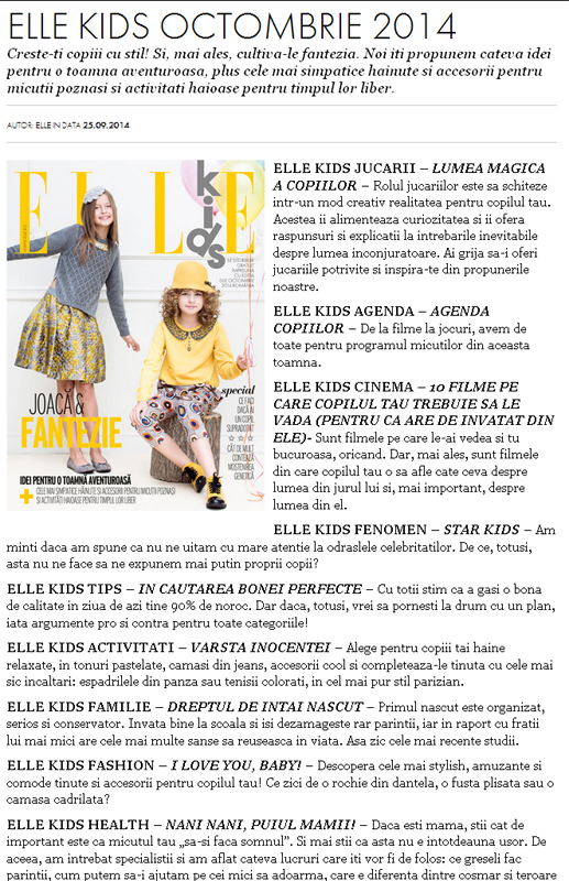 Promo pentru revista ELLE Kids, editia de Octombrie 2014