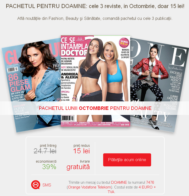 Pachet Mediafax de 3 reviste pentru doamne: CSID, Glamour si The One, editiile de Octombrie 2014 ~~ Pret pachet: 15 lei