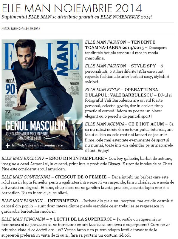 Promo pentru suplimentul ELLE MAN, editia de Noiembrie 2014