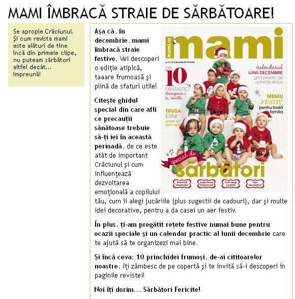 Promo pentru editia de Decembrie 2014  a revistei MAMI