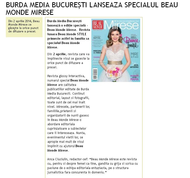 Promo pentru numarul 1 al revistei Beau Monde Mirese, 2014