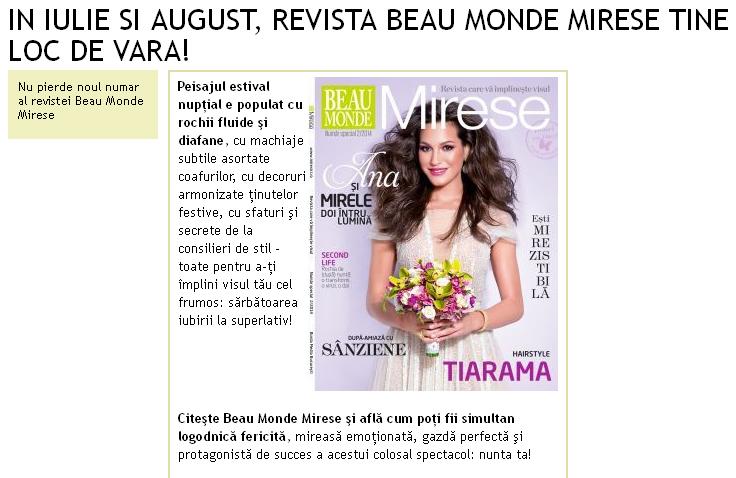 Promo pentru numarul 2 al revistei Beau Monde Mirese, 2014