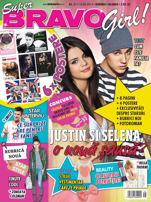 Super Bravo Girl ~~ Coperta: Justin Bieber si Selena Gomez ~~ Nr. 1 din 15 Aprilie 2014 ~~ Pret: 3 lei