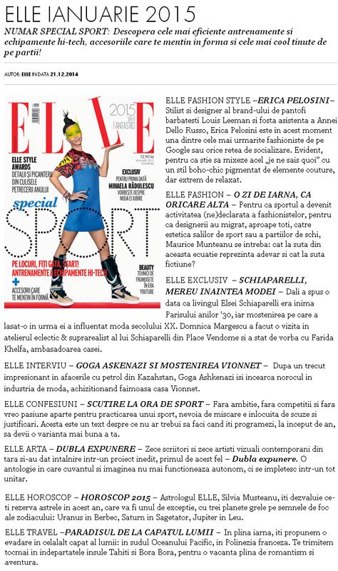 Promo pentru editia de Ianuarie 2015 a revistei ELLE Romania