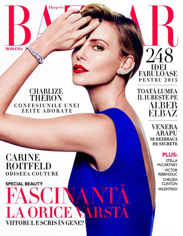 Harper\'s Bazaar Romania ~~ Coperta: Charlize Theron ~~ Ianuarie-Februarie 2015