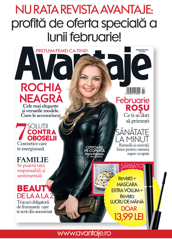Promo pentru revista Avantaje ~~ Cadou: Mascara si revista Lucru de Mana ~~ Februarie 2015 ~~ Pret pachet: 14 lei