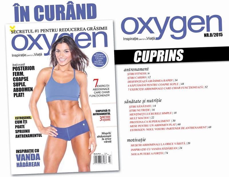 Oxygen Magazine Romania ~~ Coperta: Vanda Hadarean ~~ Martie-Aprilie 2015 ~~ Pret: 5 lei