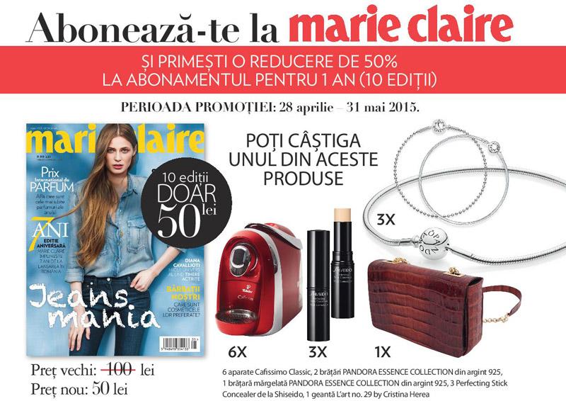 Oferta de abonament pentru 1 an la revista Marie Claire ~~ Pret: 50 lei pentru 10 editii ~~ 28 aprilie - 31 Mai 2015