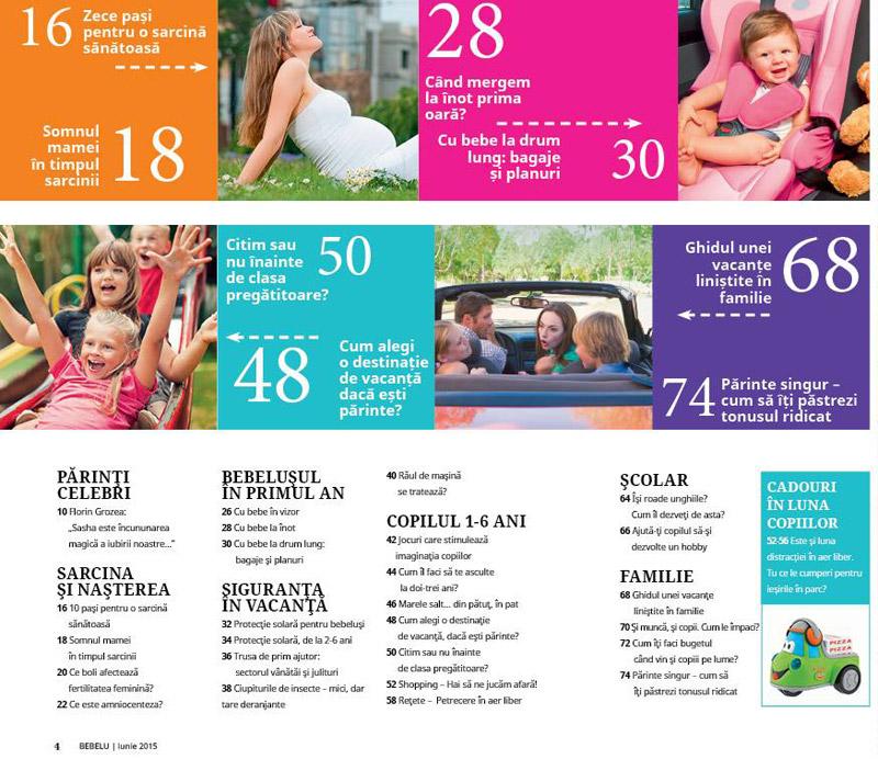 Cuprinsul revistei BEBELU, editia de Iunie 2015