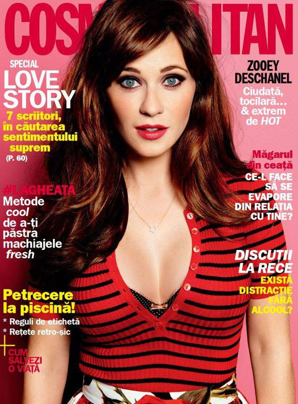 Cosmopolitan Romania ~~ Coperta: Zooey Deschanel ~~ August 2015