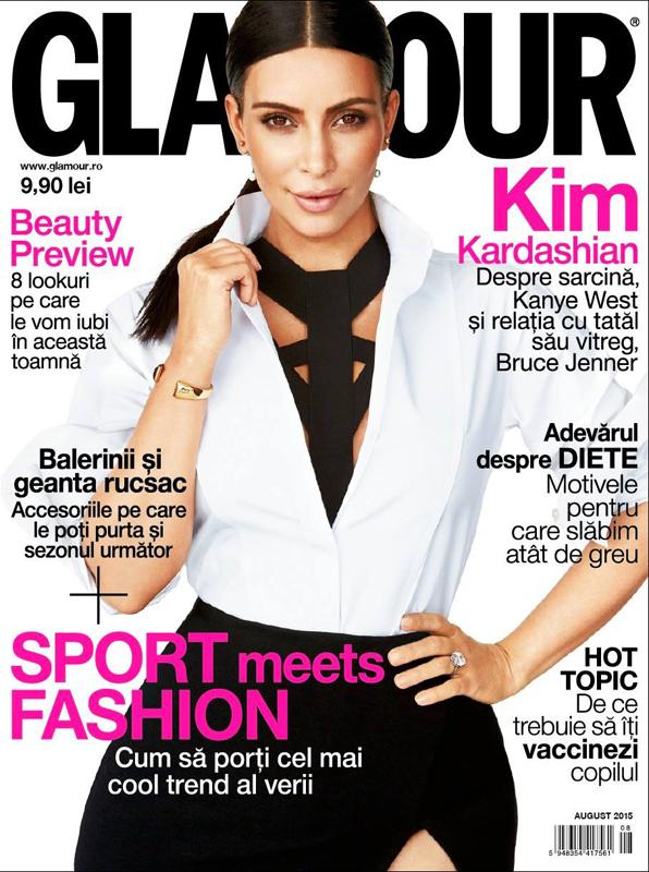Glamour Romania ~~ Coperta: Kim Kardashian ~~ August 2015