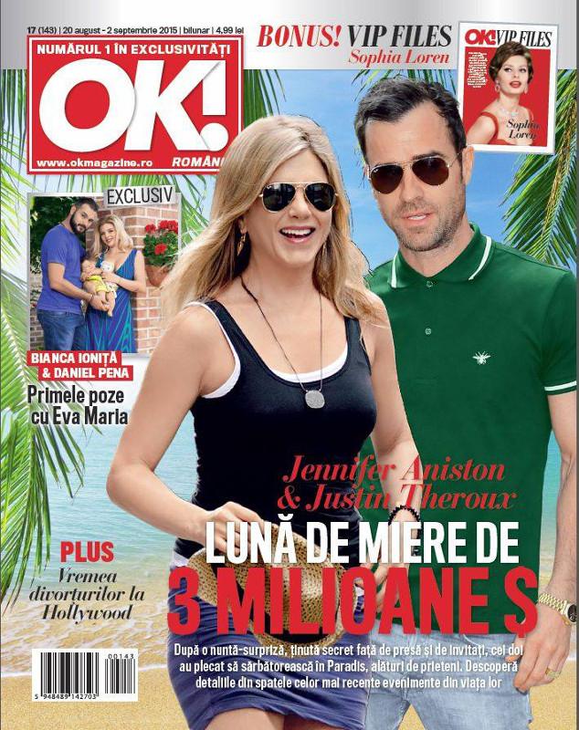OK! Magazine Romania ~~ Coperta: Jennifer Aniston ~~ VIP Files: Sophia Loren ~~ 20 August 2015 ~~ Pret: 5 lei
