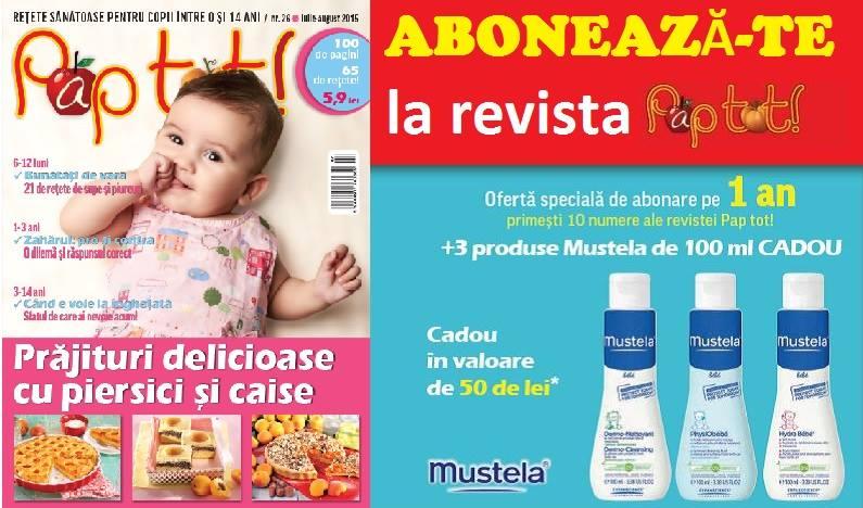Oferta de abonament pe 1 an la revista PAP TOT! ~~ Cadou: 3 produse Mustela de 100 ml
