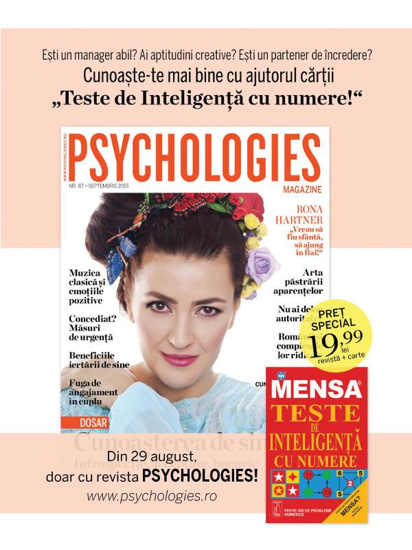 Promo pentru editia de Septembrie 2015 a revistei Psychologies Romania ~~ Pret pachet: 20 lei