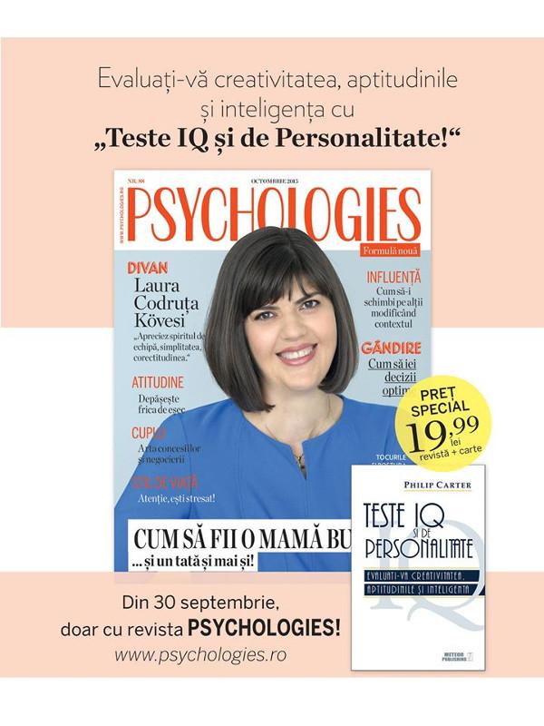 Promo pentru editia de Octombrie a revistei Psychologies Romania ~~ Pret pachet: 20 lei