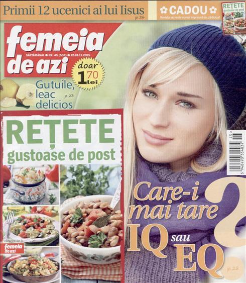 Femeia de azi ~~ Carticica: Retete gustoase de post ~~ 12 Noiembrie 2015 ~~ Pret: 1,70 lei