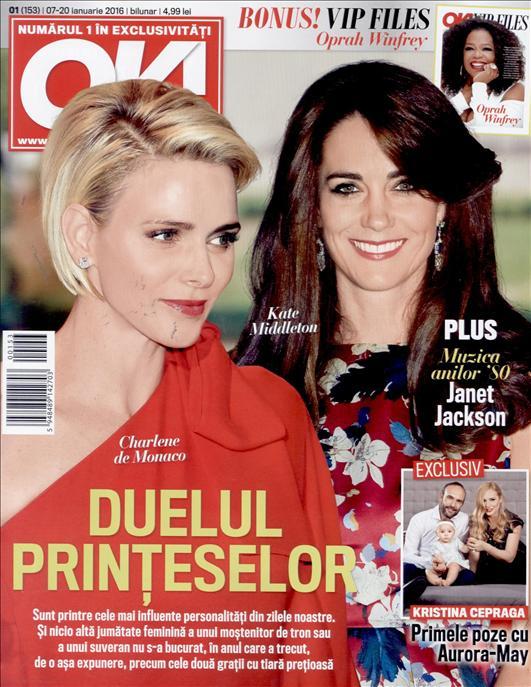 OK! Magazine Romania ~~ Duelul Printeselor ~~ VIP Files: Oprah Winfrey ~~ 7 Ianuarie 2016 ~~ Pret: 5 lei