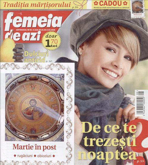Femeia de azi ~~ Carticica: Martie in Post ~~ 25 Februarie 2016 ~~ Pret: 1,70 lei
