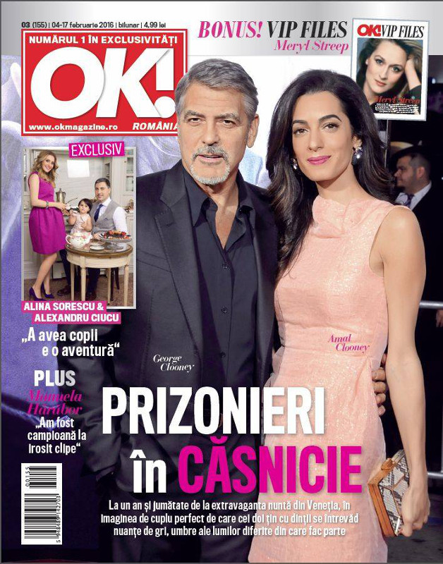 OK! Magazine Romania ~~ Coperta: George Clooney ~~ VIP Files: Meryl Streep ~~ 4 Februarie 2016 ~~ Pret: 5 lei