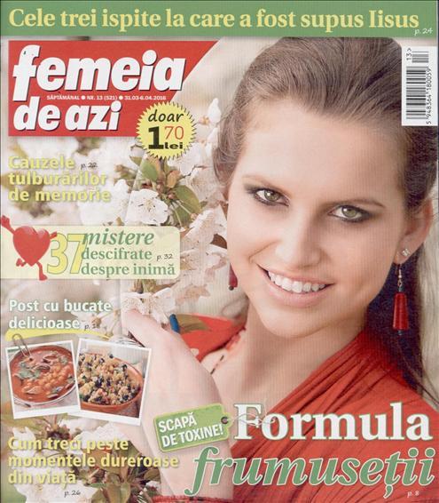 Femeia de azi ~~ Formula frumusetii ~~ 31 Martie 2016 ~~ Pret: 1,70 lei