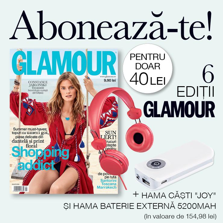 Oferta de abonament pe 6 luni la revista Glamour Romania ~~ Cadou: 2 produse Hama ~~ Pret: 40 lei