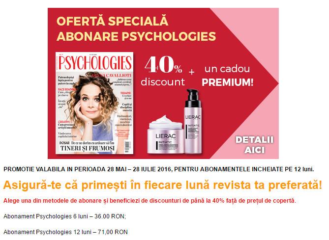 Oferta de abonament pe 1 an si cadou Lierac pentru revista Psychologies Romania ~~ Pret: 71 lei