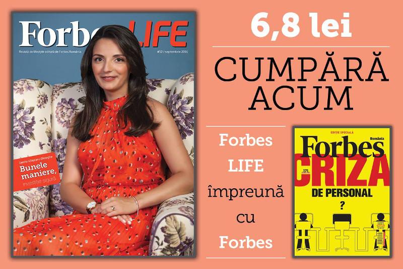 Forbes Life Romania ~~ Septembrie 2016 ~~ Pret pachet: 6,8 lei