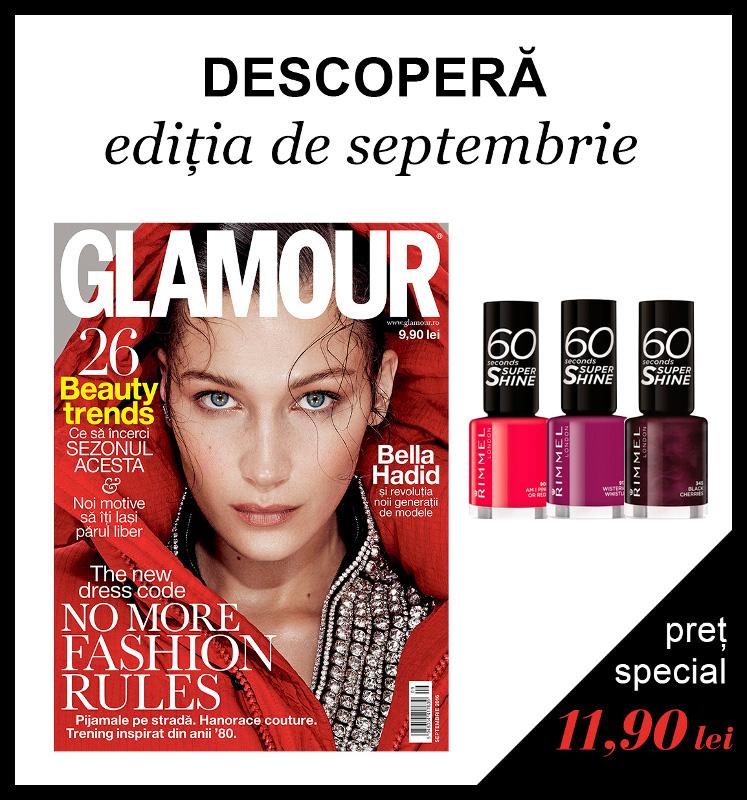 Promo pentru cadoul Rimmel London al editiei de Septembrie 2016 al revistei GLAMOUR ROMANIA ~~ Pret pachet: 12 lei
