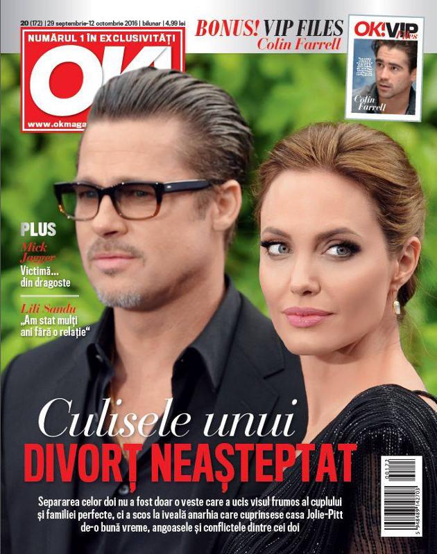 OK! Magazine Romania ~~ Coperta: Brangelina ~~ VIP Files: Colin Farrell ~~ 29 Septembrie 2016 ~~ Pret: 5 lei