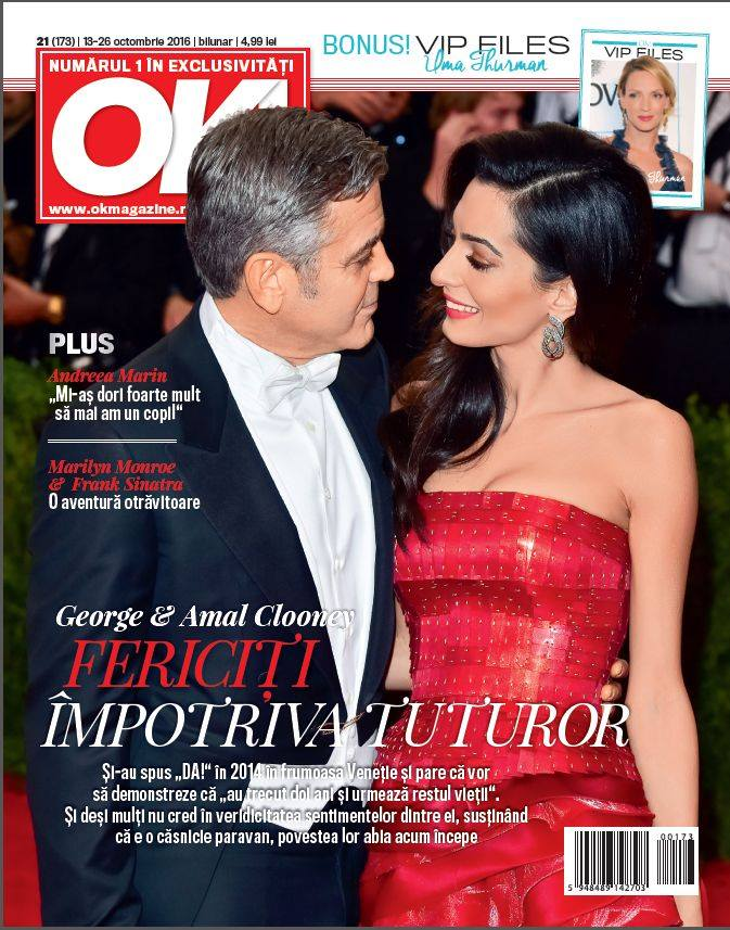 OK! Magazine Romania ~~ Coperta: George si Amal Clooney ~~ VIP Files: Uma Thurman ~~ 13 Octombrie 2016 ~~ Pret: 5 lei