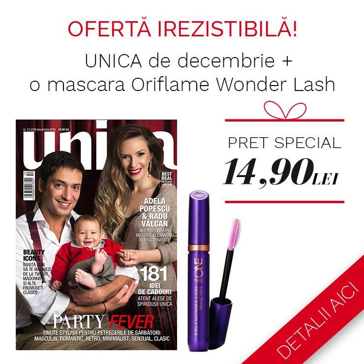 Promo pentru cadoul Oriflame al revistei UNICA, editia de Decembrie 2016  ~~ Pret pachet: 15 lei
