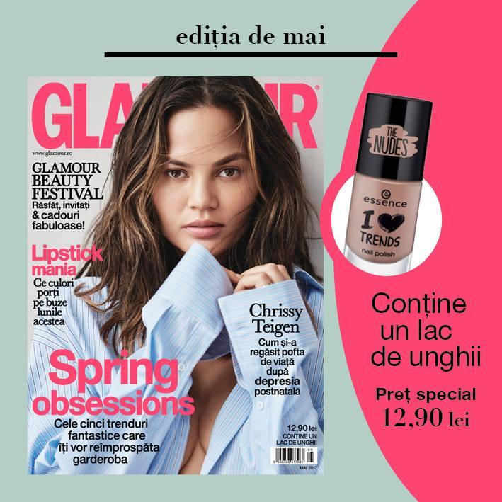 Promo pentru editia de Mai a revistei Glamour Romania ~~ Pret pachet revista si produs Essence: 13 lei