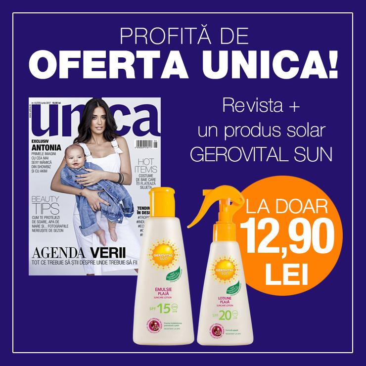 Promo pentru insertul Gerovital Sun din editia de Iunie a revistei Unica ~~ Pret pachet: 13 lei