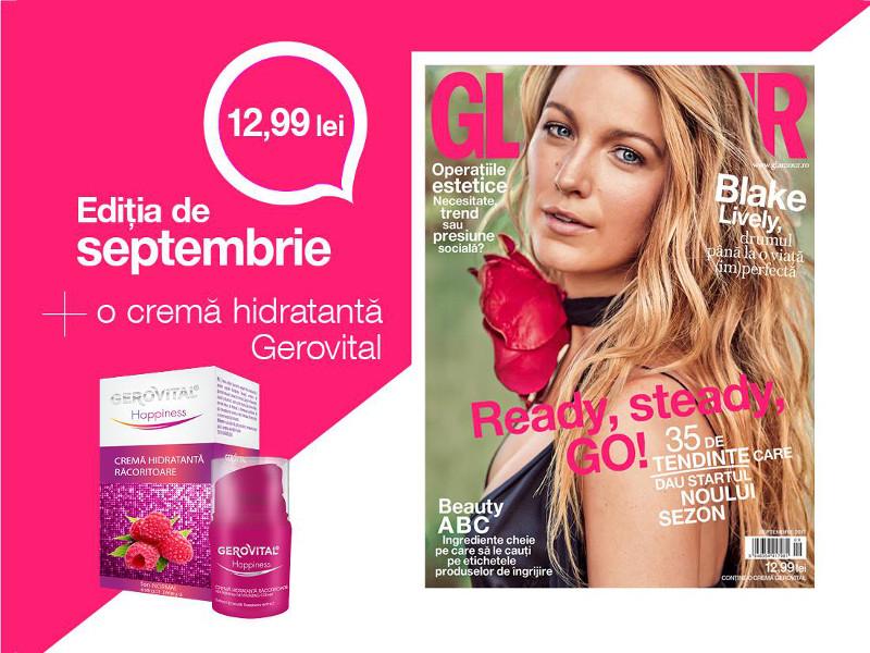 Editia de Septembrie 2017 a revistei Glamour Magazine Romania si cadoul Gerovital Happiness Crema hidratanta racoritoare ~~ Pret pachet: 13 lei