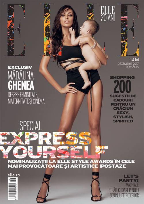 ELLE Magazine Romania ~~ Coperta:  Madalina Ghenea ~~ Decembrie 2017