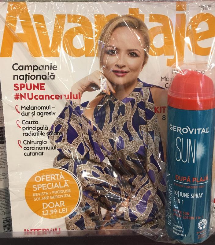 Pachet revista Avantaje si produs Gerovital Sun ~~ Pret: 13 lei ~~ Iulie 2018