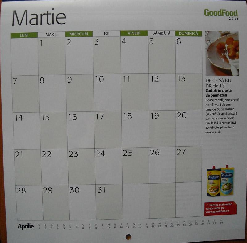 Detaliu pentru luna Martie din calendarul Good Food pentru 2011