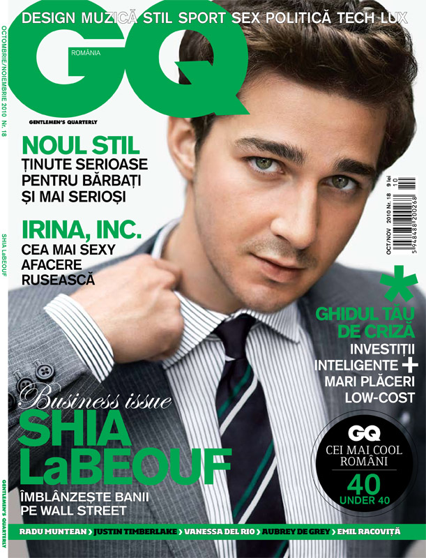 GQ Romania ~~ Cover: Shia LaBeouf ~~ Octombrie-Noiembrie 2010