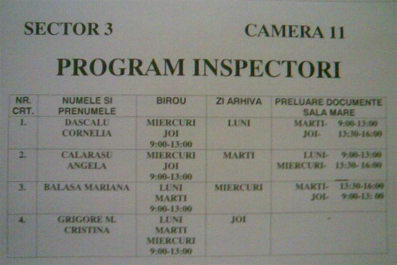 ITM Bucuresti ~~ Program Inspectori ~~ Sector 3 ~~ Camera 11
