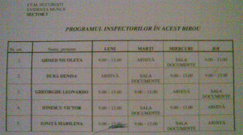 ITM Bucuresti ~~ Program Inspectori ~~ Sector 3