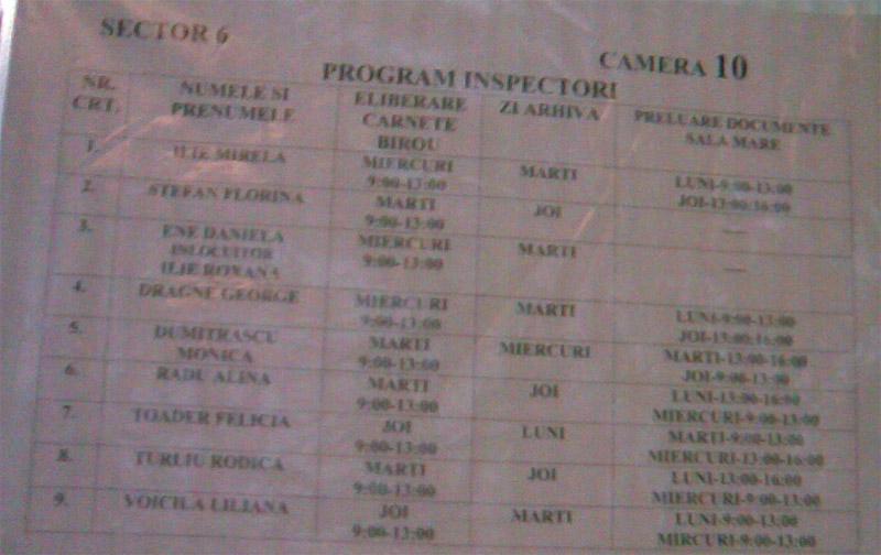 ITM Bucuresti ~~ Program Inspectori ~~ Sector 6 ~~ Camera 10