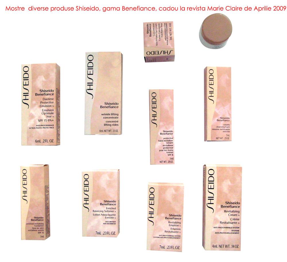 Mostre diverse produse Shiseido, gama Benefiance, cadou la revista Marie Claire de Aprilie 2009