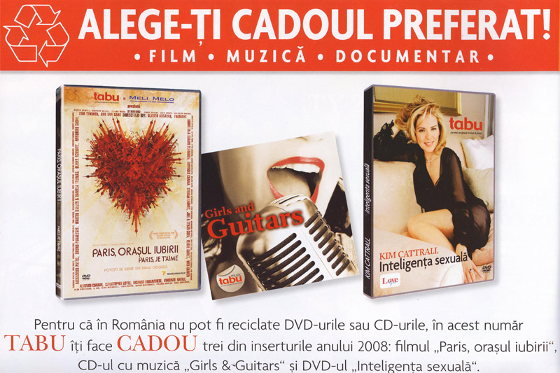 Tabu :: Alege-ti cadou preferat: film, muzica sau documentar :: Aprilie 2009