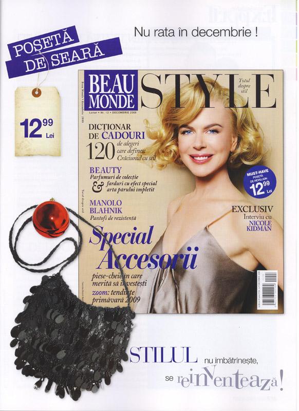Promo revista Beau Monde Style Romania, Decembrie 2008, Coperta: Nicole Kidman