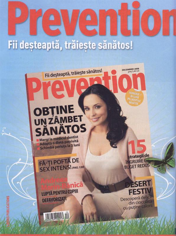 Coperta revistei Prevention Romania, Decembrie 2008 (Coperta: Andreea Marin-Banica)